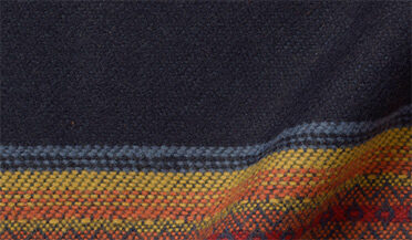 Fabric swatch of Navy and Gold Southwest Blanket Stripe Fabric
