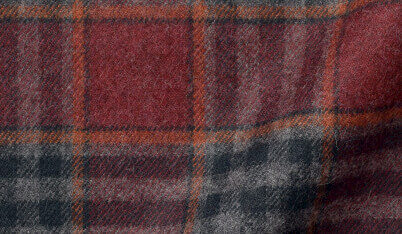 Fabric swatch of Canclini Red and Grey Plaid Beacon Flannel Fabric