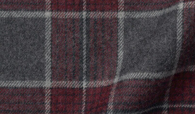 Fabric swatch of Canclini Grey and Scarlet Plaid Beacon Flannel Fabric
