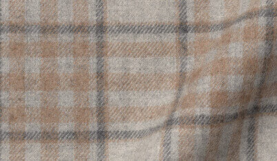 Fabric swatch of Canclini Light Grey and Beige Plaid Beacon Flannel Fabric