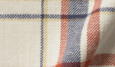Japanese Washed Antique White and Red Country Plaid Fabric Sample
