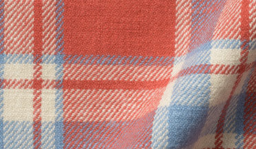Fabric swatch of Japanese Washed Tomato and Sky Country Plaid Fabric