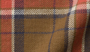 Fabric swatch of Japanese Brown and Navy Country Plaid Fabric