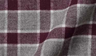 Crimson and Grey Melange Check Flannel Fabric Sample