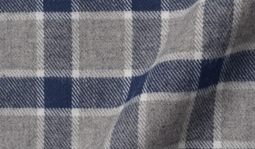 Fabric swatch of Navy and Grey Check Flannel Fabric