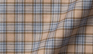 Fabric swatch of Cortina Camel and Light Grey Melange Plaid Flannel Fabric