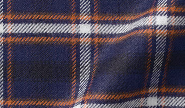 Fabric swatch of Whitney Navy and Rust Plaid Flannel Fabric
