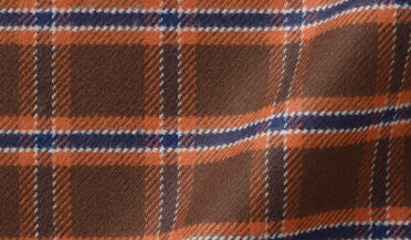 Fabric swatch of Whitney Brown and Rust Plaid Flannel Fabric