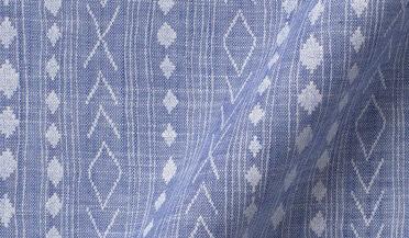 Fabric swatch of Albini Handblock Stripe Print Chambray Fabric