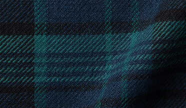 Fabric swatch of Japanese Washed Large Black Watch Country Plaid Fabric