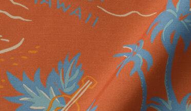 Fabric swatch of Japanese Terra Cotta Aloha Print Rayon Fabric