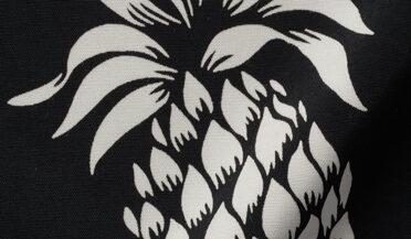 Japanese Black and White Pineapple Print Rayon Fabric Sample