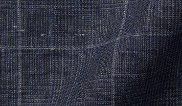 Fabric swatch of Tessuti di Sondrio Navy Prince of Wales Check Linen Fabric