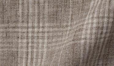 Fabric swatch of Tessuti di Sondrio Beige Plaid Linen Fabric