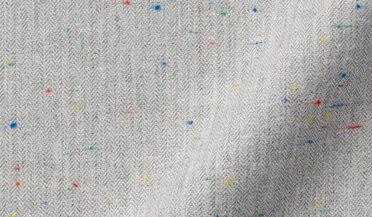 Fabric swatch of Light Grey Micro Herringbone Donegal Flannel Fabric