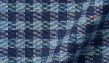 Fabric swatch of Slate Blue Melange Gingham Donegal Flannel Fabric