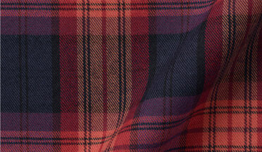 Fabric swatch of Cranberry and Navy Plaid Flannel Fabric