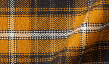 Fabric swatch of Gold and Charcoal Large Plaid Flannel Fabric
