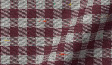 Fabric swatch of Red and Grey Melange Gingham Donegal Flannel Fabric