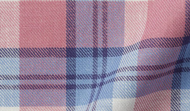 Fabric swatch of Mesa Light Blue and Rose Cotton Linen Vintage Plaid Fabric