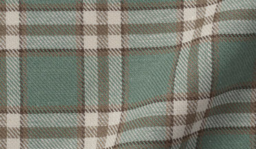 Fabric swatch of Mesa Fatigue and Brown Cotton Linen Vintage Plaid Fabric