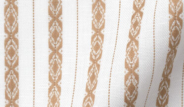 Fabric swatch of Beige and White Southwest Jacquard Stripe Fabric