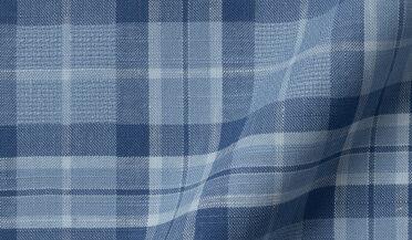 Light Blue Cotton and Linen Blend Plaid Fabric Sample