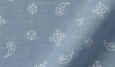 Fabric swatch of Light Blue Chambray Bandana Print Fabric