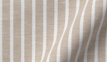 Fabric swatch of Portuguese Beige Stripe Cotton Linen Oxford Fabric