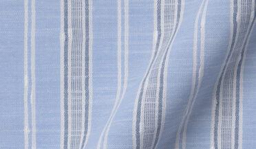Albini Light Blue Slub Stripe Fabric Sample