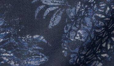 Fabric swatch of Albini Navy Pineapple Print Linen Fabric