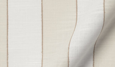 Fabric swatch of Albini Beige Printed Stripe Chambray Fabric