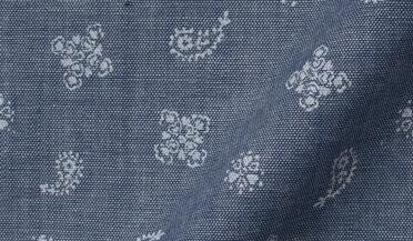Fabric swatch of Slate Blue Chambray Bandana Print Fabric