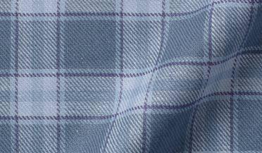 Mesa Slate Blue Cotton and Linen Plaid Fabric Sample