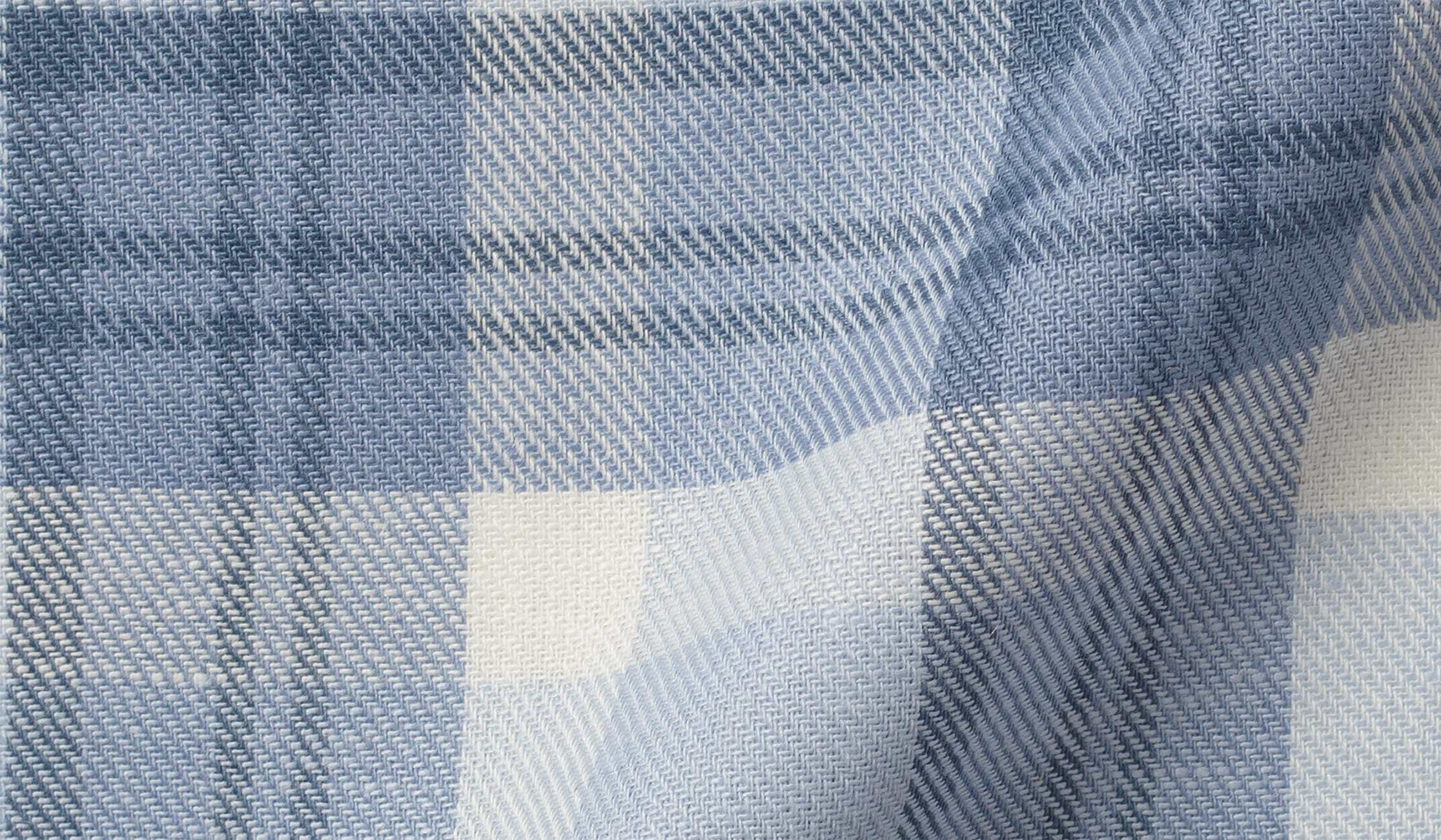 Fabric swatch of Mesa Faded Blue Cotton and Linen Plaid Fabric