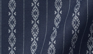Fabric swatch of Portuguese Navy and Light Blue Aztec Stripe Fabric