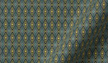 Albini Teal and Yellow Dobby Fabric Sample