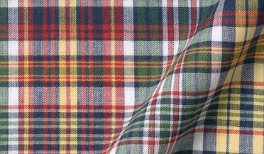 Red Green and Navy Indian Madras Fabric Sample