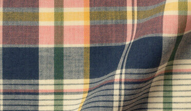 Fabric swatch of Salmon and Navy Indian Madras Fabric