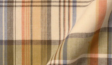 Fabric swatch of Sage and Ginger Indian Madras Fabric