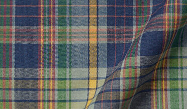 Fabric swatch of Blue Green and Yellow Indian Madras Fabric