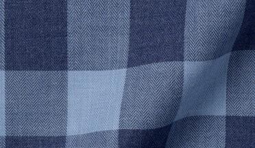Fabric swatch of Portuguese Navy and Slate Melange Gingham Fabric