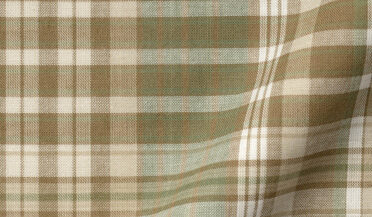 Fabric swatch of Beige and Sage Large Plaid Indian Madras Fabric
