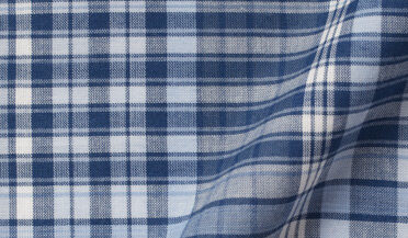 Fabric swatch of Navy and Light Blue Large Plaid Indian Madras Fabric
