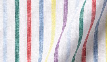 Fabric swatch of Fun Stripe Linen Fabric