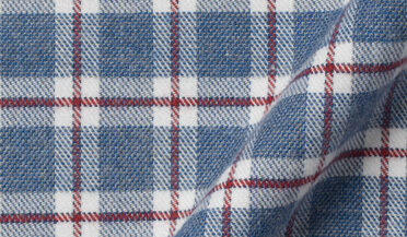 Fabric swatch of Blue and Red Check Flannel Fabric