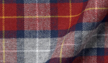 Fabric swatch of Red and Grey Tartan Flannel Fabric