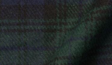 Fabric swatch of Japanese Nep Cotton Blend Black Watch Plaid Fabric