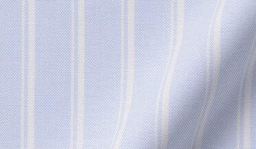 Fabric swatch of American Pima Light Blue Vintage Stripe Heavy Oxford Fabric