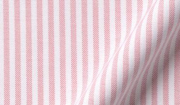 Fabric swatch of American Pima Rose University Stripe Heavy Oxford Fabric